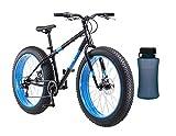 Mongoose Dolomite Fat Tire Mountain Bike with Blue Bottle (Black)
