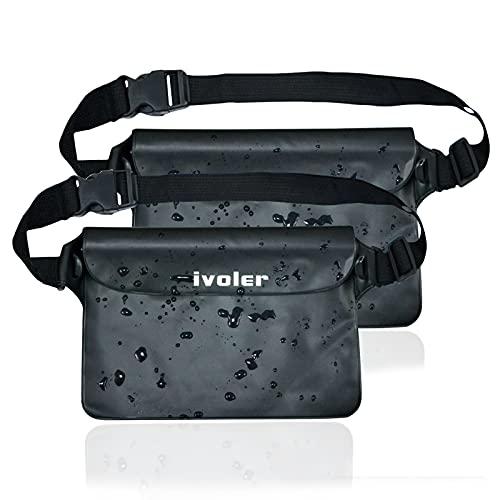 ivoler [2 Stück] wasserdichte Tasche Beutel Bauchtasche Handyhülle Schutzhülle Strand-Tasche für Geld, Kamera und Smartphones Ideal für Wassersport, Strand, Schwimmen, Bootfahren (Schwarz)