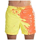 Qinnyo Summer Shorts for Mens Swim Trunks Shorts Temperature-Sensitive in case of Water Color-Changing Beach Pantse Yellow