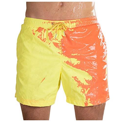 NINGSANJIN Herren Sommer Badehosen Badeshorts Schwimmhose Schwimmshorts Verfärbung bei Wasser (V-Stil) Beachshorts Strand Shorts Kurze Hosen Freizeithosen (L, V-Gelb)