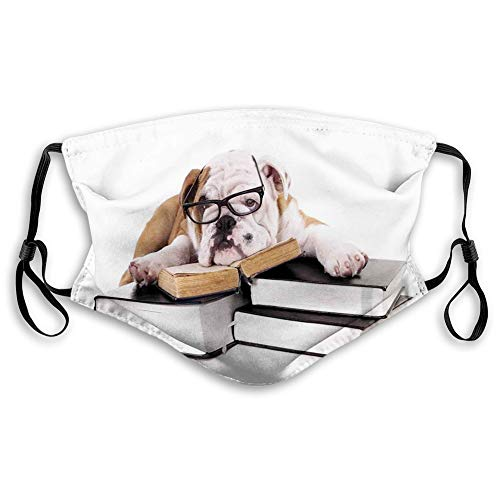 Comfortable Printed mask,English Bulldog, Pure Breed Bulldog with Glasses and Books Hardworking Animal, Black Pale Brown White,Windproof Facial decorations for Adults Size:M