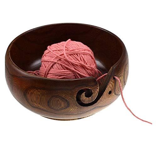 Cuenco de madera para almacenamiento de hilo, para evitar que las bolas de hilo, soporte para herramientas de agujas de ganchillo con corte en espiral, agujeros perforados (color: marrón)