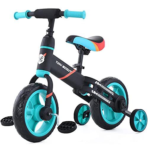 DREAMyun 4 EN 1 Triciclo para Niños Bicicleta para bebé 1-3 años con Pedales Desmontables Asiento Elevador para Ajustar Alturas Regalo de cumpleaños,Azul