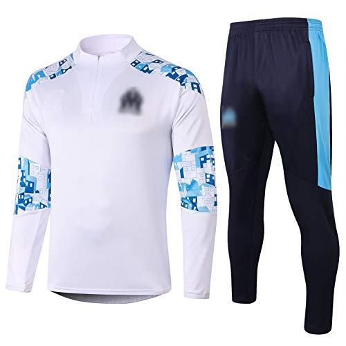 THUK 20-21 Marseille City Football Training Anzug, langärmelige Sportkleidung Trainingsanzug Set, Outdoor Sports Herren Langgezeichnete Sportbekleidung (S-XXL) White-S