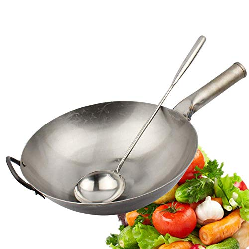 XHNXHN Wok de Acero Inoxidable - 32-45 cm/Antiadherente - Cocina de inducción de Estufa de Gas Universal - manijas Stay-Cool, 32 cm, 34 cm