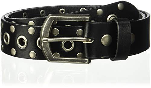 Cinturón de piel maciza con remaches y ojales Negro Negro ( 81.28 cm (Ropa)