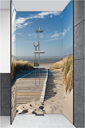 Artland Duschrückwand Eck mit Motiv Fliesenersatz Alu Rückwand Dusche Duschwand Bad 3 Segmente Wunschmaß Natur Strand Nordsee Sand Meer Steg T5RM