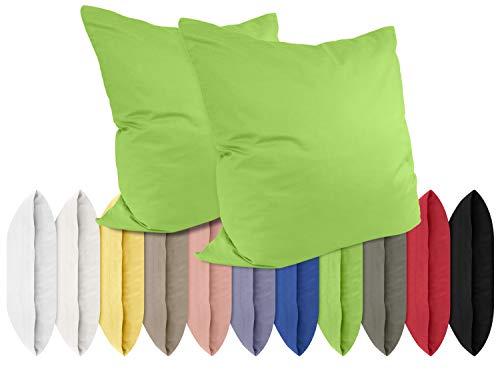npluseins Renforcé-Kissenbezüge im Doppelpack - 100% Baumwolle – schlicht und edel im Design, in 11 Uni-Farben, 40 x 40 cm, grün