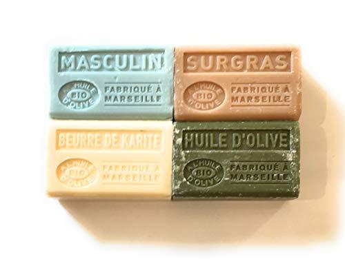 Lot de 4 savons de Marseille BIO à l'huile d'olive - 4x125g- masculin, surgras, beurre de karité, huile d'olive