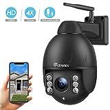 PTZ Dome Caméra extérieur sans Fil, Ctronics Caméra de Surveillance WiFi HD 1080p 360 ° avec 4X Zoom Optique, Audio bidirectionnel, Vision Nocturne de 50 m, Protection IP65 (Carte SD Non fournie)