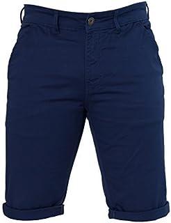 Enzo Mens Slim Fit Stretch Cotton Chino Summer Shorts Black Blue Red Grey