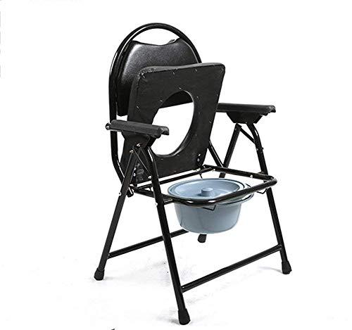 Z-SEAT Klappbarer Toilettenstuhl, Schwerer Nachttisch mit Armlehnen, extra breiter Duschstuhl, für Aldult, Edelstahl