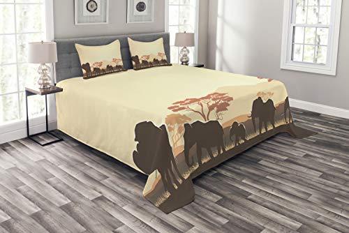 ABAKUHAUS Afrika Bedsprei, Safari Animal Elephant, Decoratieve Gewatteerde 3-delige Spreiset met 2 Kussenhoezen, 264 x 220 cm, Pale Yellow Brown