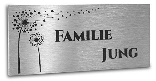 Jung Edelstahl Design Türschild V2A Edelstahl 80X35mm mit Motiv Blume und Wunschtext