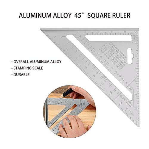 YOTINO Medición de Regla Triangular 7 Pulgadas Escuadra de Aleación de Aluminio Sistema Imperial Alta Precisión para Ingeniero Carpintero