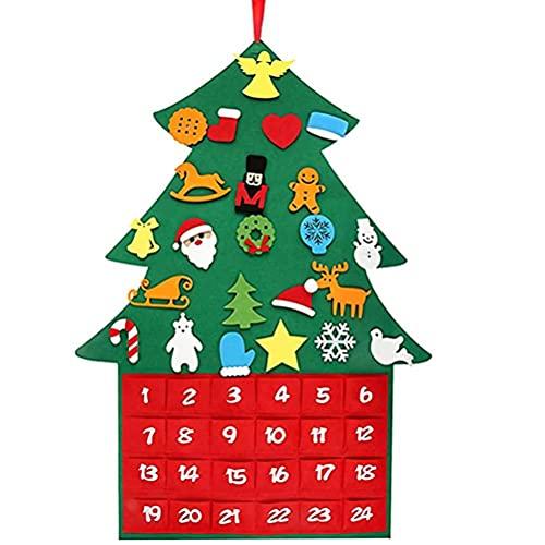 Jxfrice Calendrier de l'Avent en feutre à faire soi-même avec 24 ornements et poches pour sapin de Noël - Décoration murale ou porte - Cadeau idéal pour les enfants