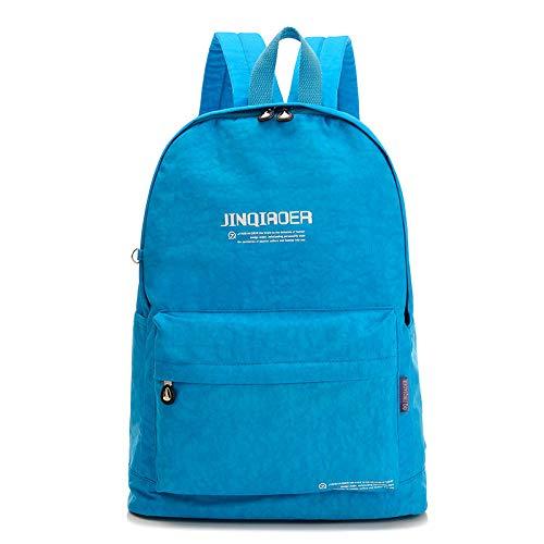 Rugzak van nylon, waterdicht, voor laptop, schooltas, modieus, voor dames, schoudertas voor jongeren, reizen, Blauw (blauw) - wwttoo 24/8-268