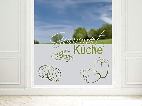 GRAZDesign Sichtschutzfolie Schriftzug Gourmet Küche, lichtdurchlässige Glasdekorfolie, Fensterfolie zur Dekoration / 100x57cm