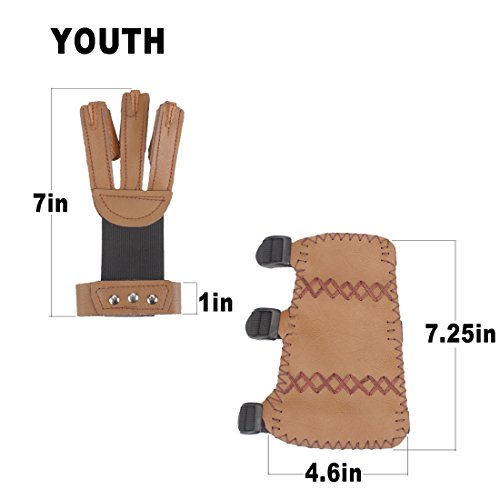 AMYIPO 3 Finger Protective Glove & 3 Straps Arm Guard (Brown-for Youth, 2-Piece Set)