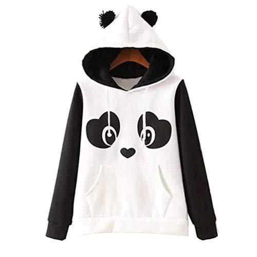 KESYOO Suéter para mujer linda sudaderas con capucha para otoño invierno panda sudadera con capucha talla L blanco y negro blanco y negro M