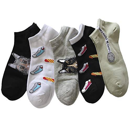 FERETI Calcetines Mujer Baloncesto Smileys Gatos Brillos Skateboard Zapatillas Caritas