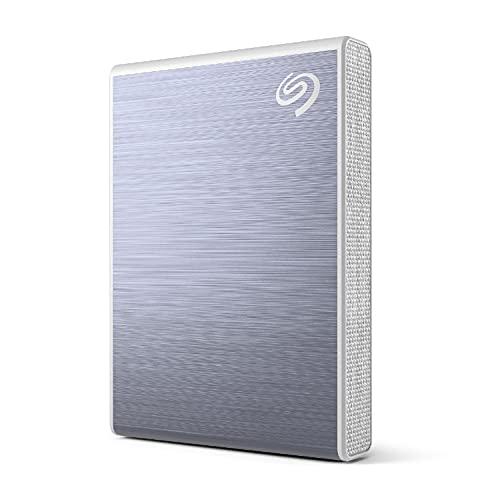Seagate One Touch SSD, 500GB, azul, velocidad de hasta 1030MB/s, con app para Android, 1 año de Mylio Create, 4 meses del plan Adobe Creative Cloud Photography y servicios Rescue (STKG500402)