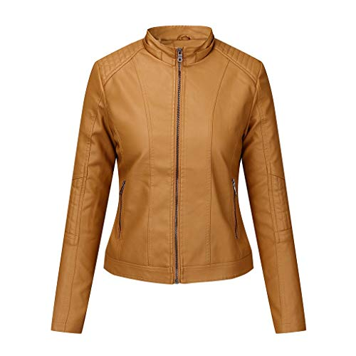 Trolimons Women's Faux Leather Jacket Moto Casual Short Coat for Spring