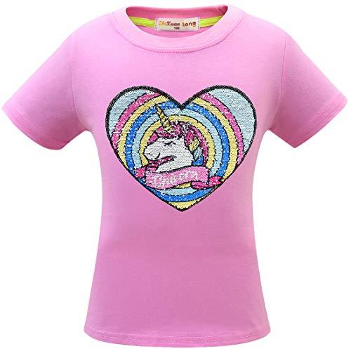 Thombase - Camisetas para niñas con purpurina y lentejuelas