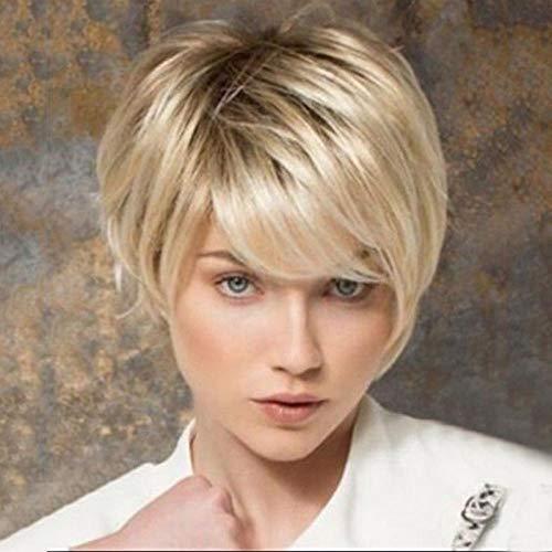 Lichtblond kort steil haar, donkere haarwortel, 28 cm, natuurlijk levensecht haar, zijde met hoge temperatuur van chemische vezels, damespruik voor dagelijks gebruik en feest, feest