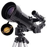 QSYY Telescopio Astronómico, 400/70 Mm Negro, Refractor De Alto Aumento, para Niños, Principiantes Y Adultos, con Trípode Ajustable, Soporte De Adaptador De Teléfono Móvil Y Mochila