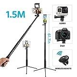 Selfiestick Stativ 1.5M, Moreslan 3 in 1 bluetooth Selfie Stick Selfie Stange Mit Fernbedienung Erweiterbar 360°Rotation Gopro Stativ für Tablet / Smartphone
