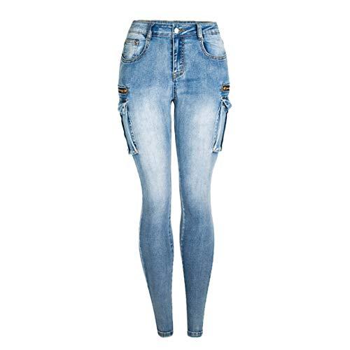 JCNHXD Jeans Ajustados con Cremallera para Mujer Bolsillos para Mujer Pantalones Vaqueros Delgados...