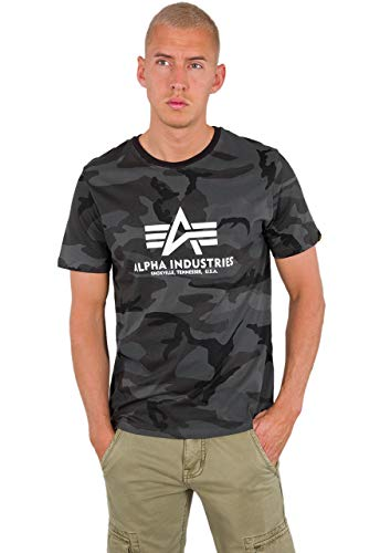 ALPHA INDUSTRIES Herren T-Shirt Basic Logo Camo (M, Black camo)