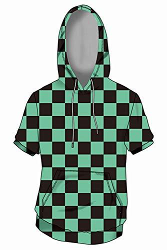 HEREN DAMES Korte mouw jasje met capuchon Pullover Trui Sweater met capuchon Sweatjack Hoodie Demon Kimetsu Slayer Kamado Tanjirou S