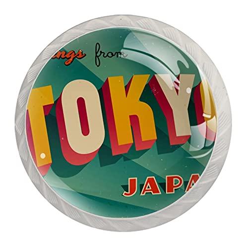 Perillas del gabinete 4pcs Tiradores vidrio cristal,Vintage Turístico Japón ,para puerta mueble abierta o cajón