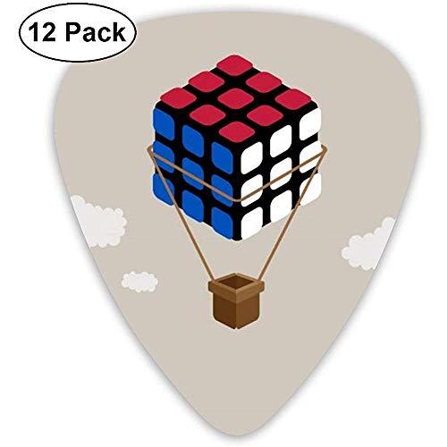 Magic Cube Air Balloon gitaar pick set gitaar bas mandolines ukelele 0,46 mm 0,71 mm 0,96 mm verpakking van 12 plectrum houder