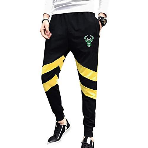 Haoshangzh55 Pantalones De Baloncesto/Milwaukeebucks Ropa De Entrenamiento Deportiva para Los Fanáticos. Los Hombres Ocasionales Sueltos Absorbe La Humedad,Amarillo,XL