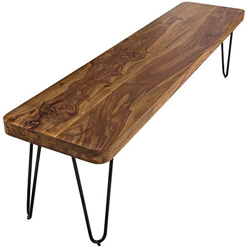 FineBuy Massive Sitzbank 160 x 40 cm Harlem Sheesham Holz Bank für Esstisch Massiv | Küchenbank Massivholz | Essbank ohne Lehne für Esszimmer