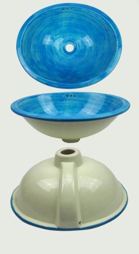 Tierra-y-manos 3-02-707 de forma ovalada fregadero de cerámica de México. Light blue. Pintado a mano como invitados se hunden, lavabo de diseño, mano aseo cuenca del huésped, baño. Dimensiones