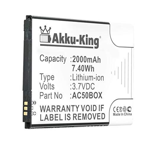 Akku-King Akku kompatibel mit Archos AC50BOX - Li-Ion 2000mAh - für 50 Neon, 50 Neon 4G, 50 Platinium, 50B Oxygen, 50B Sauerstoff, ArcMoile Velocity