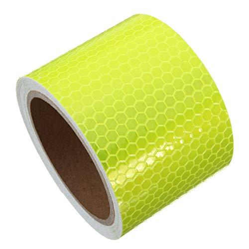 Cinta de Embalar, Etiqueta auto-adhesivo de la cinta 6 colores 3m seguridad a largo Cinta de la precaución Advertencia de cinta reflectante (Color : Yellow)