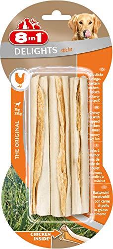 8in1 Delights Sticks - Bastoncini Masticabili con Carne di Pollo Avvolta In Pelle di Bufalo - 3 pezzi, 75 g