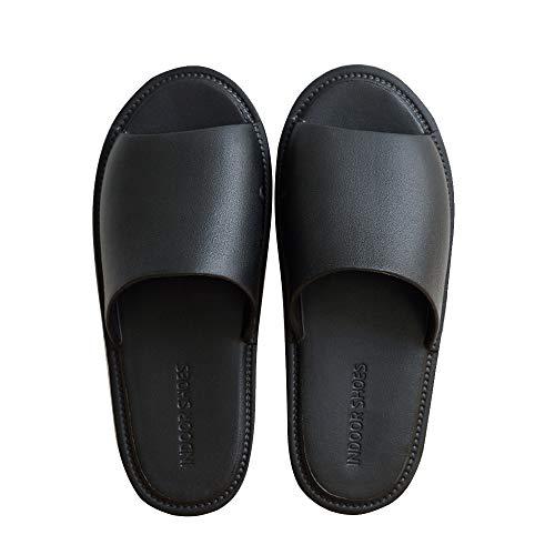 TFENG Herren Pantoffeln, Unisex Hausschuhe Indoor Hause Slippers, House Schuhe (Schwarz, Gr.35-36 EU)