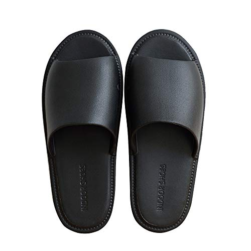 TFENG Herren Pantoffeln, Unisex Hausschuhe Indoor Hause Slippers, House Schuhe (Schwarz, Gr.43-44 EU)