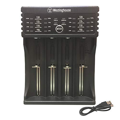 Westinghouse 4 Bay Smart Universal Battery Charger for IMR Li-ion IFR LiFePO4 Ni-MH Rechargeable Batteries- AA AAA C SC RCR123A 18650 18500 14500 14430 17335 14335 26650