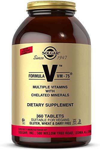 Solgar Formula VM-75, 360 Tablets - Multivitamin with Chelated Minerals - Vitamin A, B6, B12, C, D, E - Biotin, Magnesium, Calcium, Iron, Zinc - Vegan, Gluten Free, Dairy Free, Kosher - 360 Servings