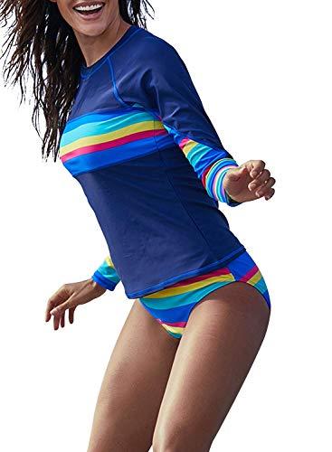 Women's Long Sleeves Rash Guard Athletic Swim Aztec Tankini Sets Swimsuit (X-Large, Rawbow)