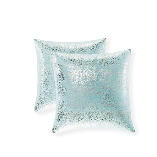 Xinrjojo Pack of 2, Shiny Cushion, Decorative Pillow Covers, Soft Square Throw Pillow Covers, Solid Color Cushion Covers, Pillow Cases for Sofa Bedroom Car 22 x 22 Inch (Silver- Lake Blue)