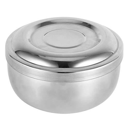 Rotekt Taza de jabón de afeitado húmedo para hombres con tapa de metal plateado para limpieza facial cuidado de la salud herramienta de afeitado con tapa