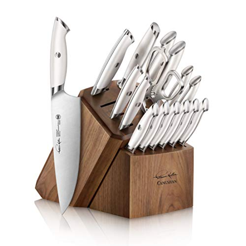 Cangshan Thomas Keller Signature Collection Swedish Powder Steel Forged, 17-Piece Knife Block Set, Walnut, White